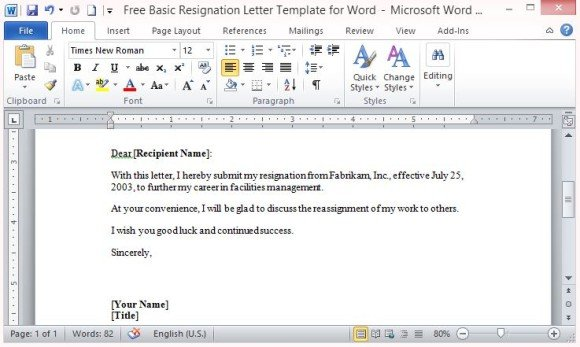 simple resignation letter format in word free basic resignation letter template for word 14685