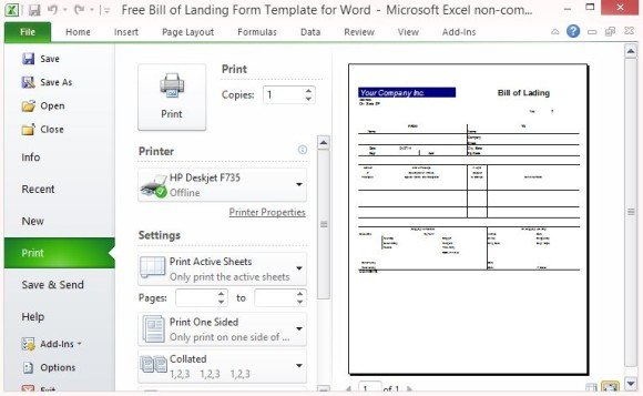 Printable Bill Of Lading Form  Free Bill Of Lading Template
