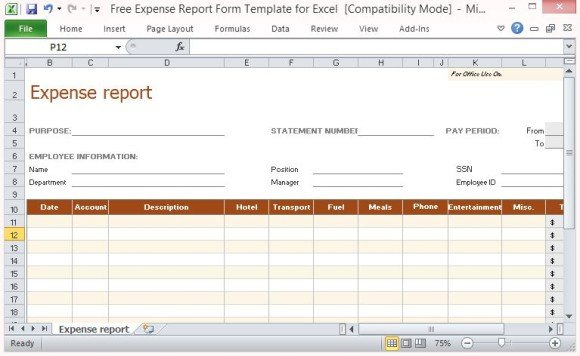 Beautiful Printable Form For Office Use To Auto Expense Report