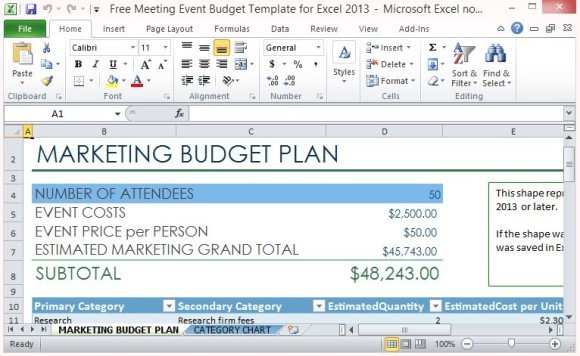 Free Meeting Event Budget Template For Excel