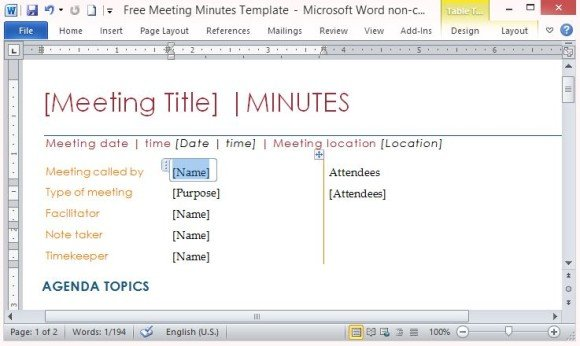 Free PowerPoint Templates  Meeting Minutes Template Microsoft Word