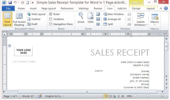 Simple sales receipt template for word in one page professionally designed sales receipt in one page publicscrutiny Gallery
