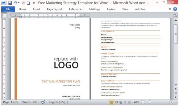 Professionally Designed And Outlined Marketing Plan. The Free Marketing  Strategy Template For Word ...  Free Word Templates