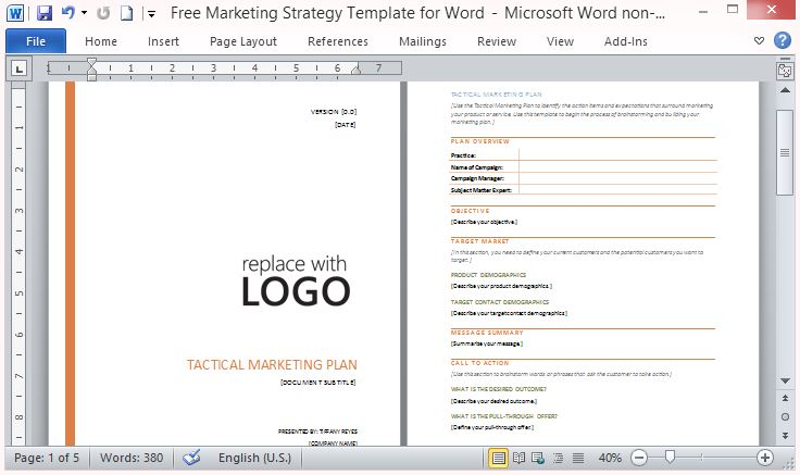 Free marketing strategy template for word flashek Images
