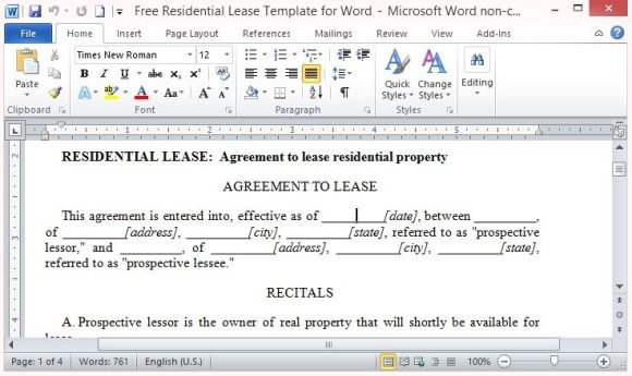 Free residential lease template for word professionally written legally binding lease agreement maxwellsz