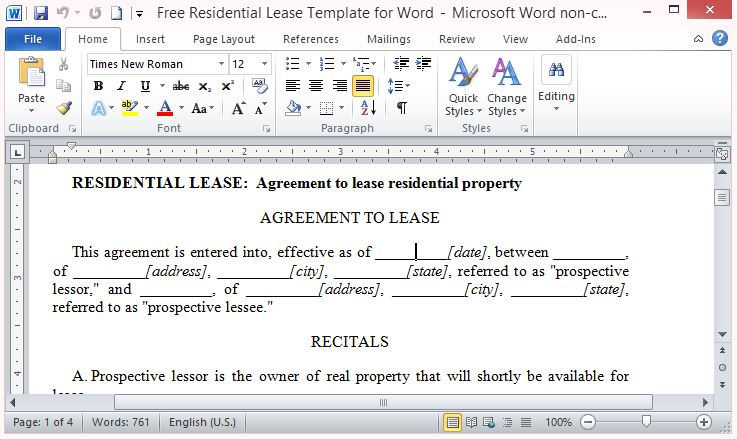 Residential Lease Template For Word