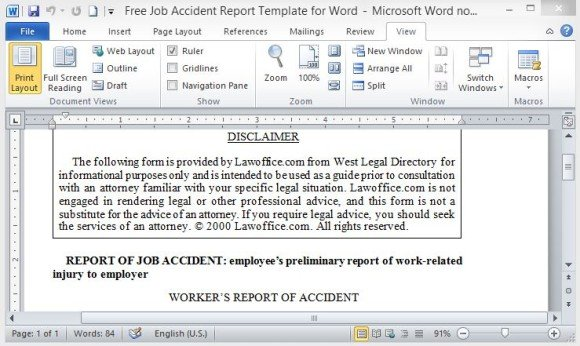 Free Job Accident Report Template For Word