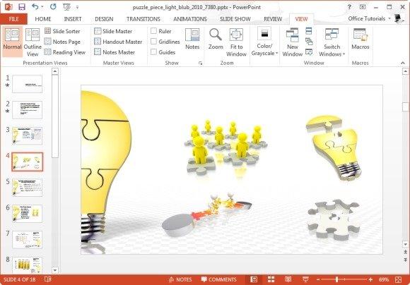 Puzzle Piece Light Bulb Assemble PowerPoint Template