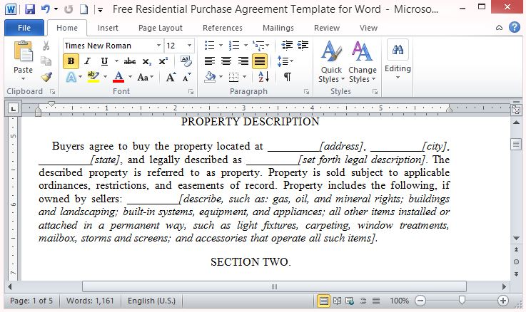 Free PowerPoint Templates  Free Printable Real Estate Sales Contract