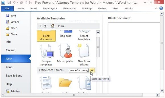 Search for Power of Attorney Template in Word