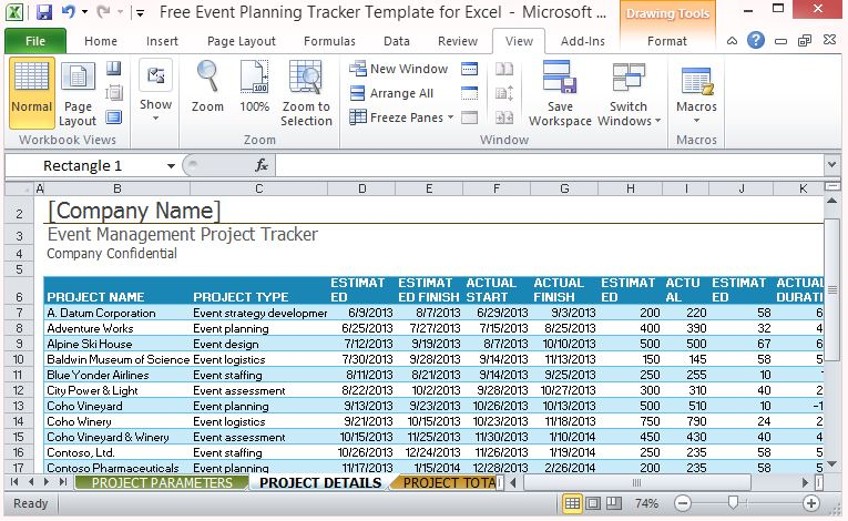 Separate Worksheet Tab for Project Details - FPPT