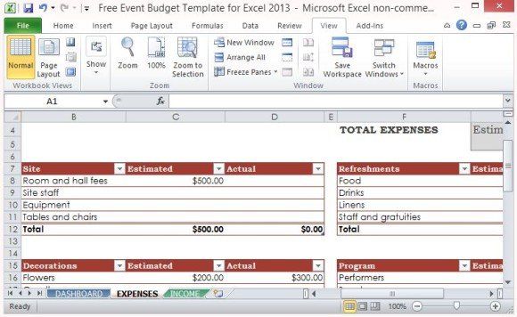 Free Event Budget Template For Excel 2013