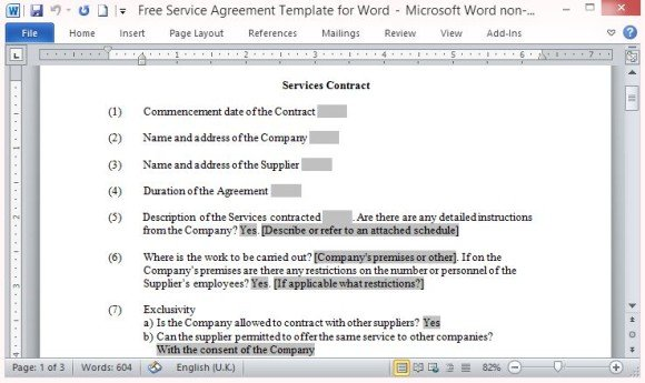 Free Service Agreement Template For Word - Simple service agreement template word