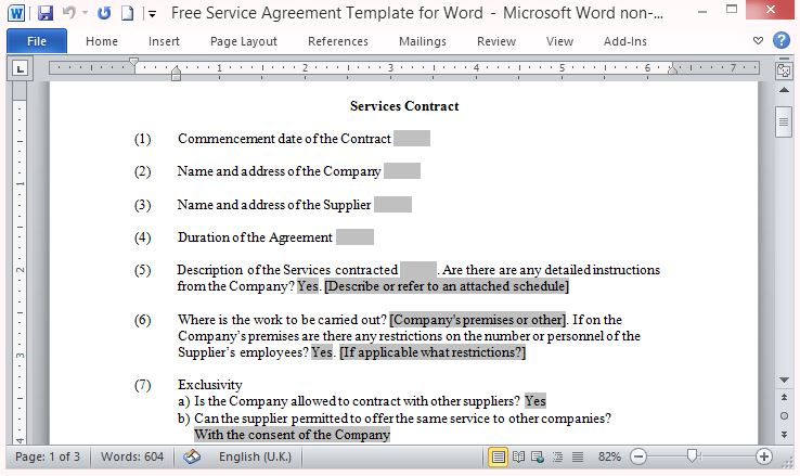 Service Agreement Template For Word