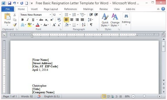 Free basic resignation letter template for word simply insert your information to complete the letter spiritdancerdesigns