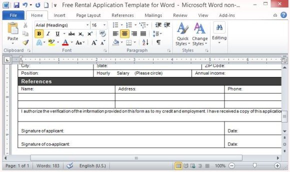 Suited For Printing As A Standard Form. This Word Template ...  Application Templates For Word