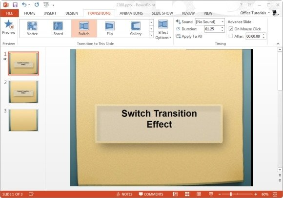 Switch Transition Effect