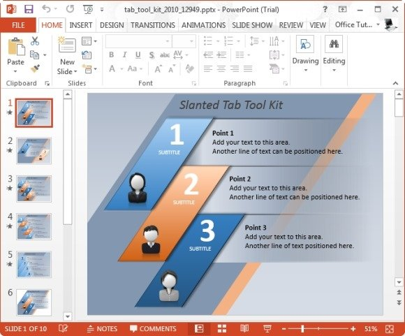 elegantly display bullet points with powerpoint tab toolkit template, Powerpoint templates