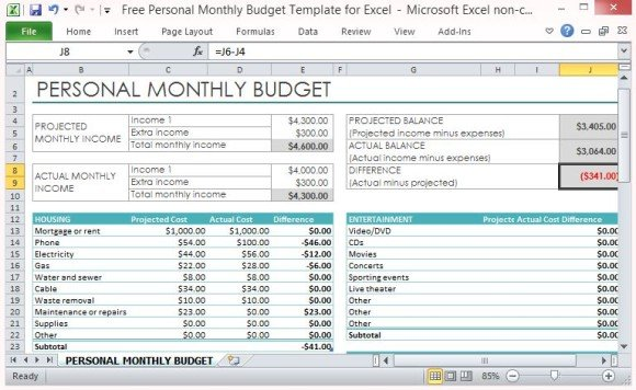 Personal Monthly Budget Template For Excel