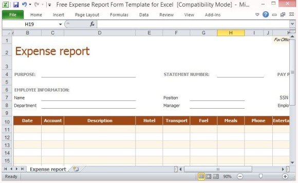 Free Expense Report Form Template For Excel