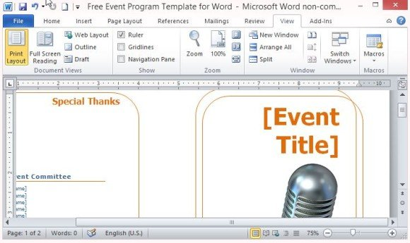 two fold event program template