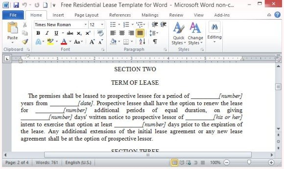 Free Residential Lease Template For Word - Rental lease agreement template microsoft word