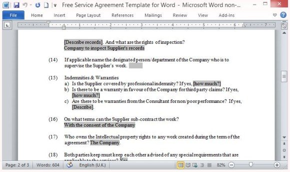 Service Contract In Word | Free Service Agreement Template For Word