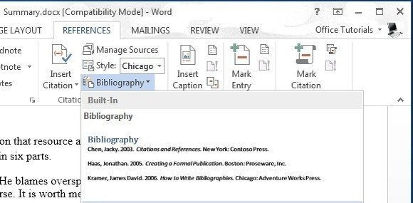 how to provide citations microsoft word