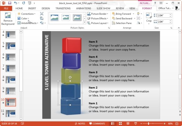 change the look of blocks in powerpoint