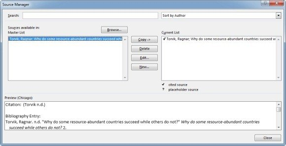 manage references in microsoft word 2013