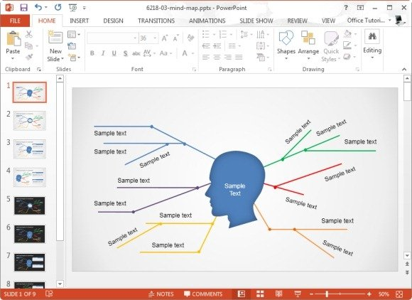 simple mind map powerpoint template