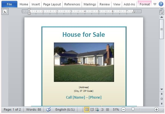House For Sale Flyer Template For Word  Car Sale Sign Template