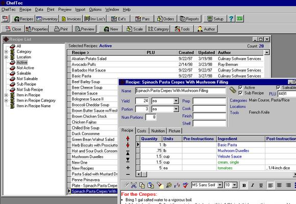 Food Service Recipe Software