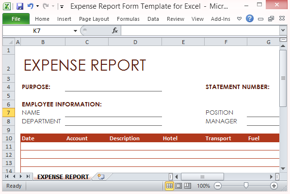 expense report form template for excel. Black Bedroom Furniture Sets. Home Design Ideas