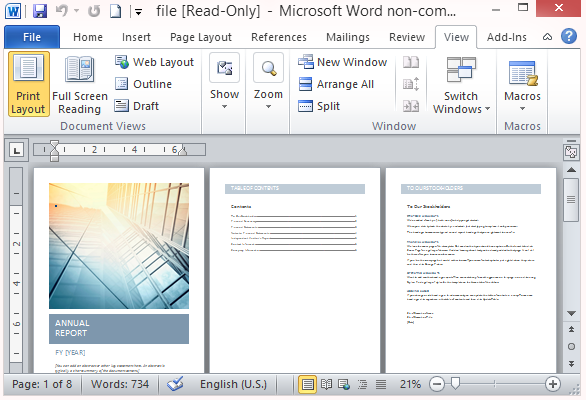 ms word report templates free