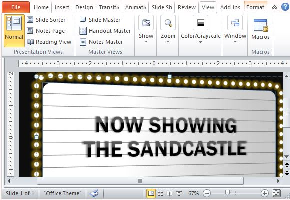 Free PowerPoint Template With Movie Theater Sign Effect