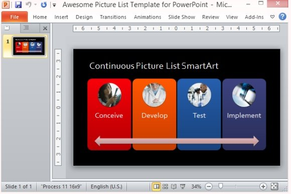 Awesome picture list template for powerpoint present a process in pictures toneelgroepblik Gallery