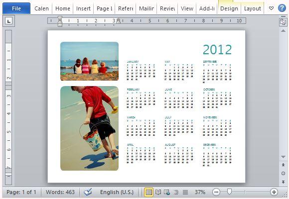 Printer-Friendly Family Photo Calendar