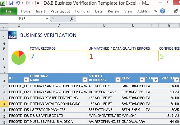 Db Business Verification Template For Excel
