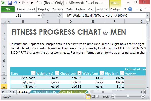 progress chart for men fppt