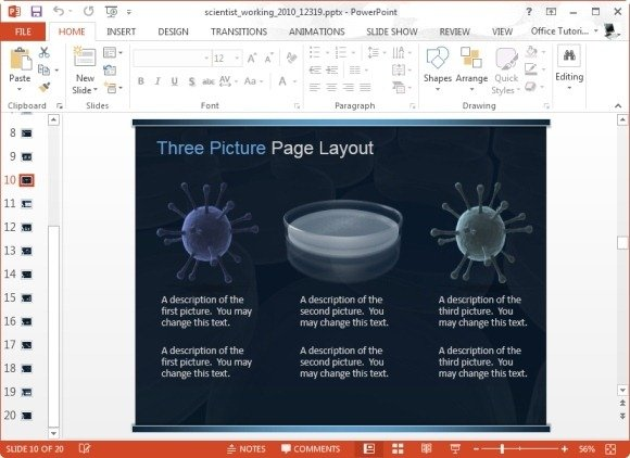 animated scientist working in lab template for powerpoint, Presentation templates