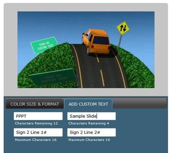 customize car animation with custom text