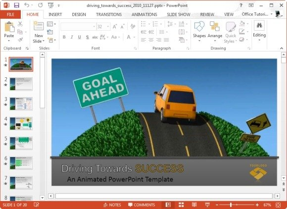 driving towards success powerpoint template and video animation, Modern powerpoint