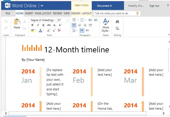 Month Timeline Template For Word Online