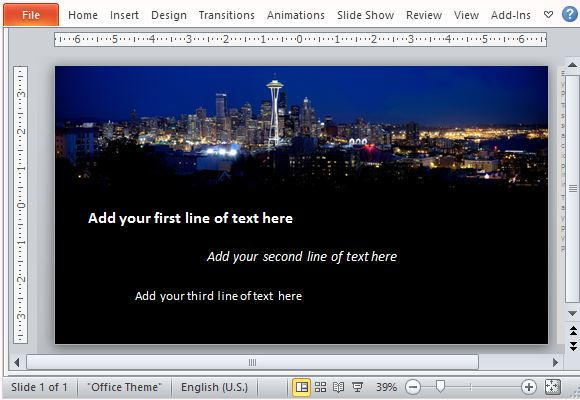 Animated powerpoint template with fade effect and city panorama animated text over a city skyline at night time toneelgroepblik Image collections