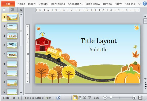 fall fun powerpoint template, Modern powerpoint