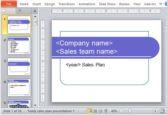 sales business plan template powerpoint