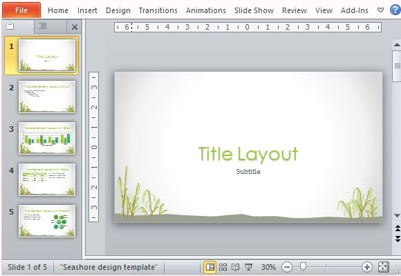 beautiful powerpoint template with seashore design, Modern powerpoint