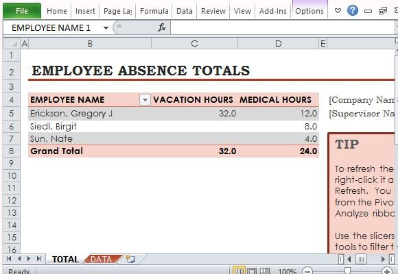 Conveniently Use the PivotTable to Track Employee Absences