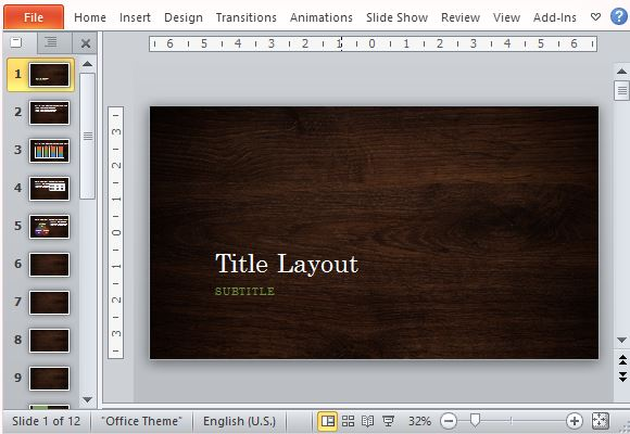 elegant woodgrain nature powerpoint template, Modern powerpoint